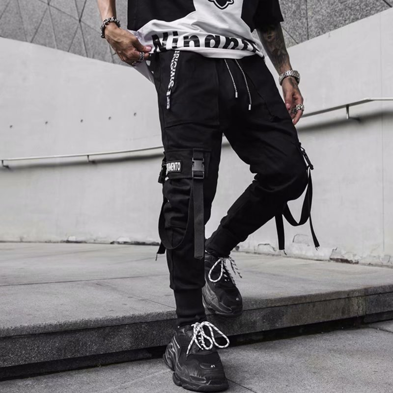 Casual Pants Men's Autumn Hip Hop Popular Brand Japanese-style Workwear Ankle Banded Pants Ribbon Embroidery Pants Trend Trouser