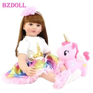 60cm Big Size Reborn Toddler Doll Toy Lifelike Vinyl Princess Baby With Unicorn Cloth Body Alive Bebe Girl Birthday Gift