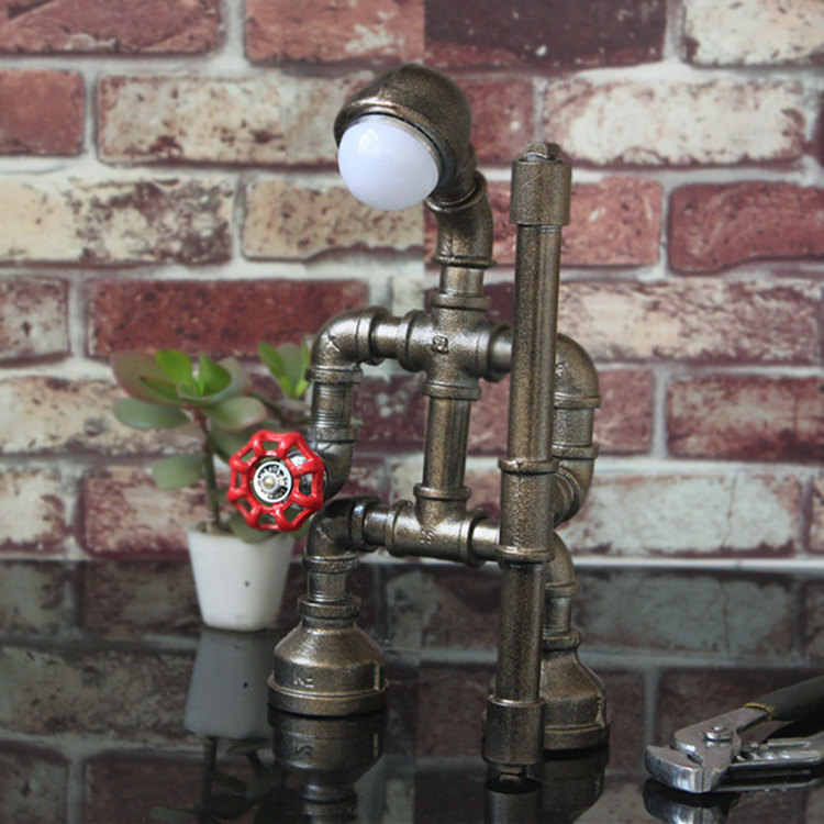 Kreative eisen rohr loft Edison LED augenschutz industrie retro licht kaffee bar wasser rohr roboter tisch lampe