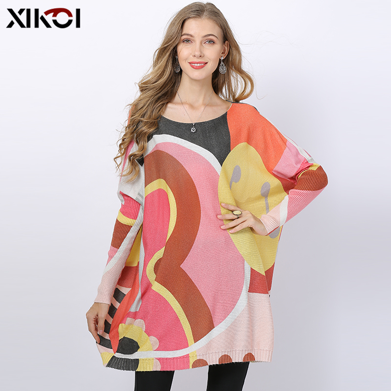 XIKOI Winter Oversized Wool Sweater Dresses For Women Knitted Loose Long Pullovers Sweet Pink Patchwork Jumper O-neck Pull Femme