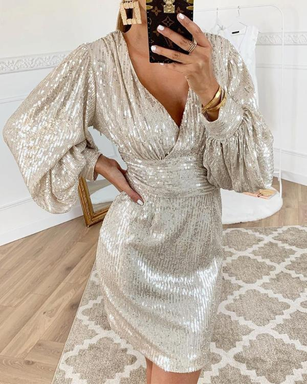 Goocheer Elegant Party Rompers Female Sexy V-neck Sequins Overalls Long Sleeve Club Short Jumpsuit Women Sexy Mini Dresses