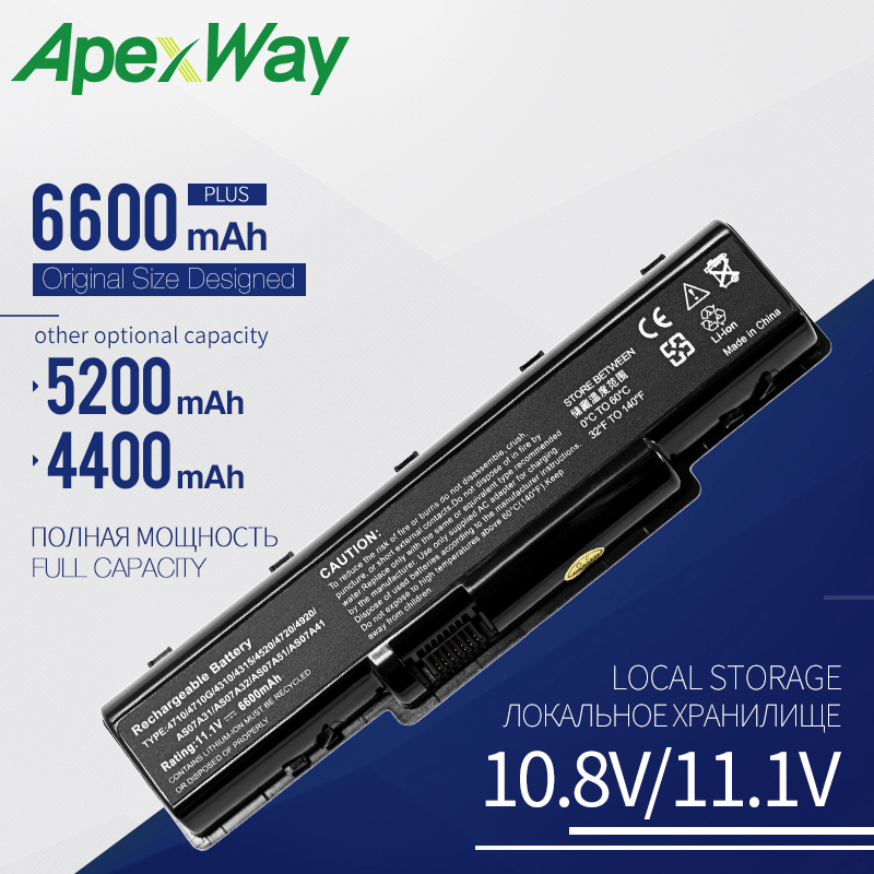 Apexway battery for <font><b>Acer</b></font> Aspire 4720G 4720Z 4720ZG 4730 4730Z 4730ZG <font><b>4736</b></font> 4736G 4736Z 4736ZG AS07A51 BT.00606.002 BT.00607.012 image