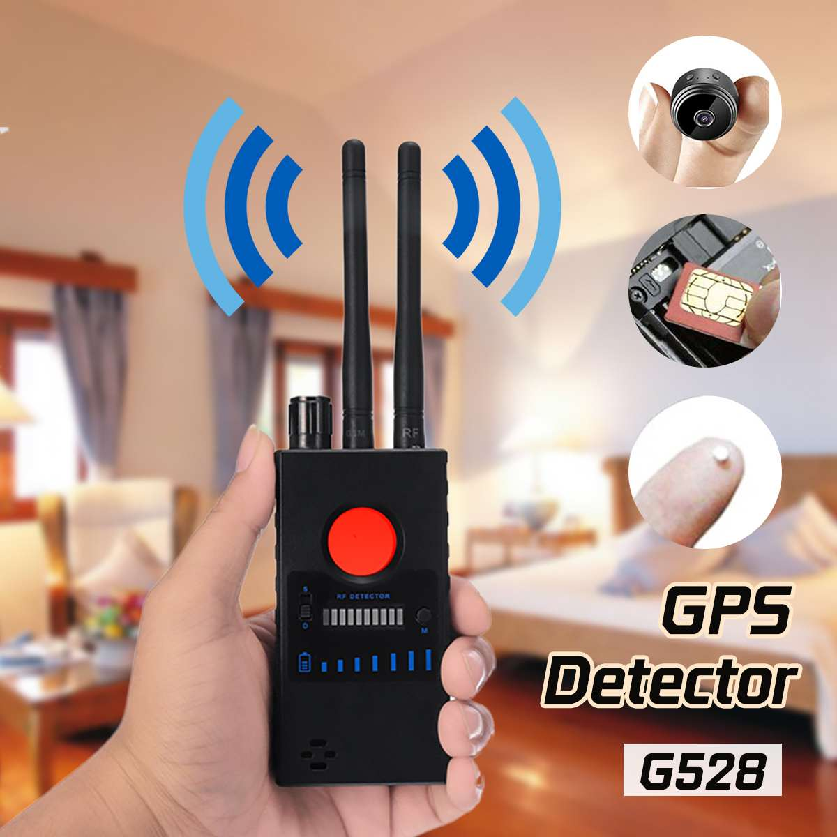 1.2/2.4GHZ G528 Multi-function Anti-Spy GPS Wireless Signal Automatic Detector Finder Racker Frequency Scan Sweeper Dual Antenna