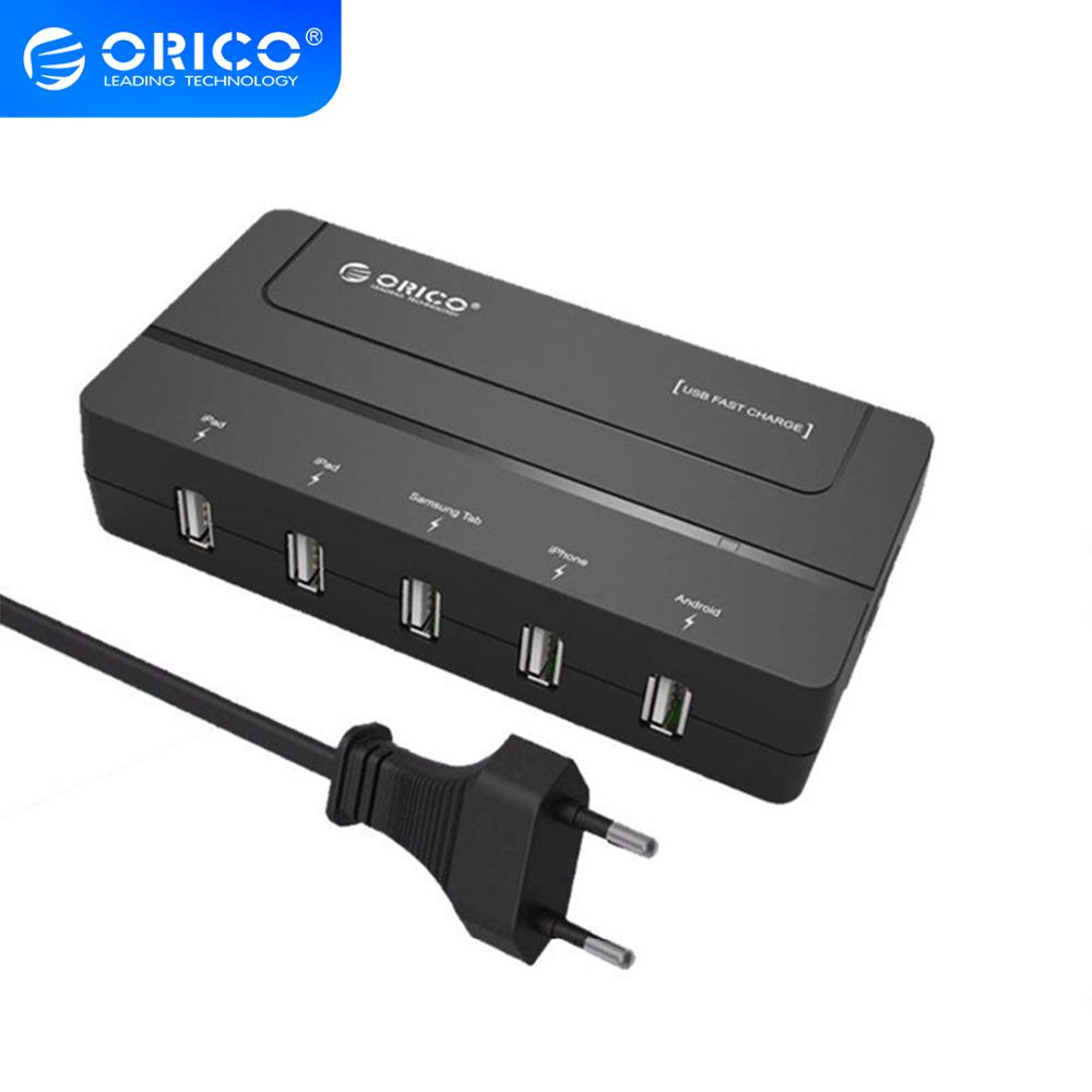 ORICO <font><b>5</b></font> Port <font><b>USB</b></font> <font><b>Charger</b></font> 30W Optimized <font><b>Charger</b></font> <font><b>USB</b></font> Desktop <font><b>Charger</b></font> for Phone Pad Tablet EU US AU UK Plug image