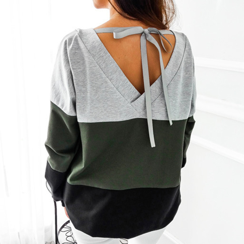 Sexy Backless Lace-up Women Sweatshirt Plus Size Autumn Patchwork Pullovers Hoodies Casual Sweatshirt Long Sleeve LadiesTops