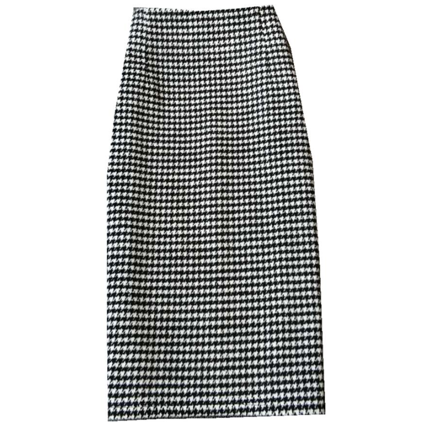plus size 3XL!black white plaid woolen skirt women high waist winter split step pencil skirt office lady image