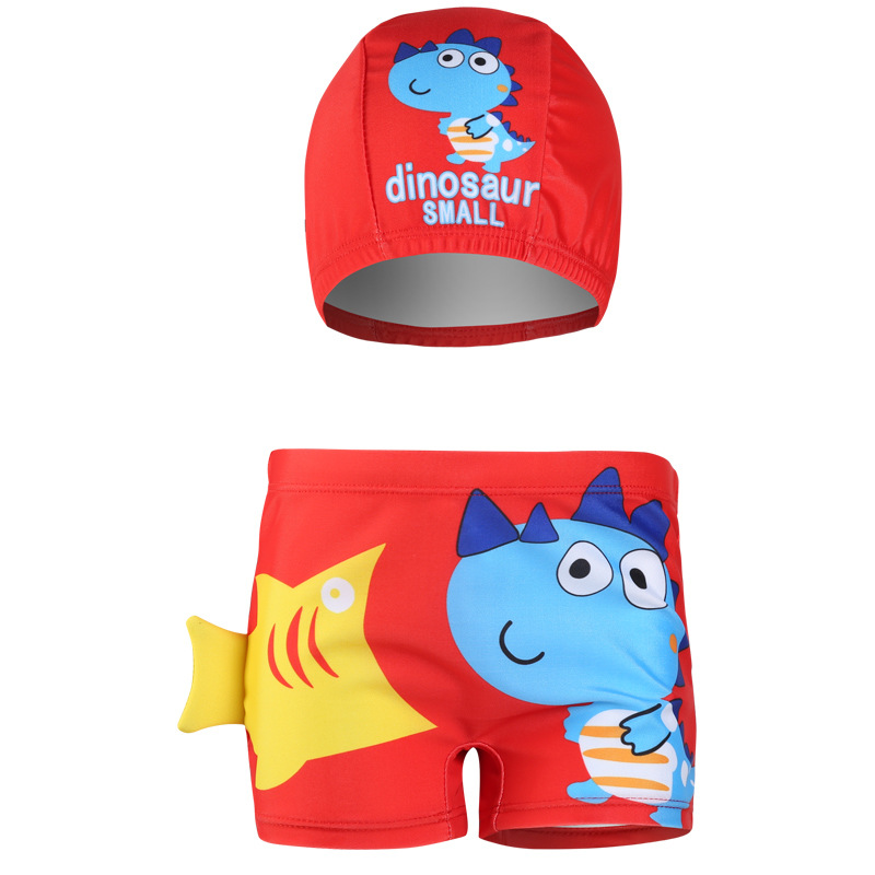New Style Cartoon BOY'S Swimming Trunks Cartoon Little Dinosaur Infants BOY'S Swimming Trunks Hooded Baby Swimming Trunks