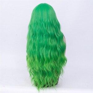 Image 2 - MSIWIGS długie faliste zielone Ombre Cosplay peruki Two Tone z Bangs kobiety syntetyczne peruki środkowej części dla kobiet