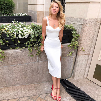 Ocstrade Summer Midi Bandage Dress 2020 New Arrivals Women Strappy Sexy White Bodycon Club Evening Party