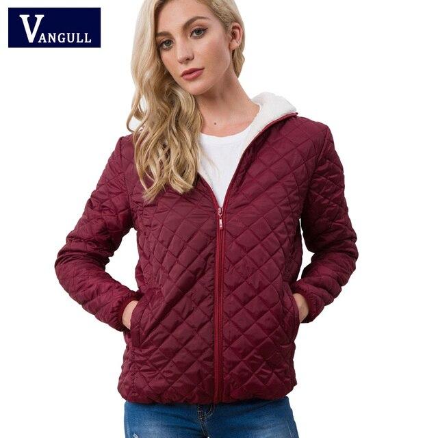 Vangull جديد ربيع الخريف المرأة الملابس مقنعين الصوف الأساسية سترة طويلة الأكمام الإناث معاطف قصيرة سستة ملابس خارجية غير رسمية