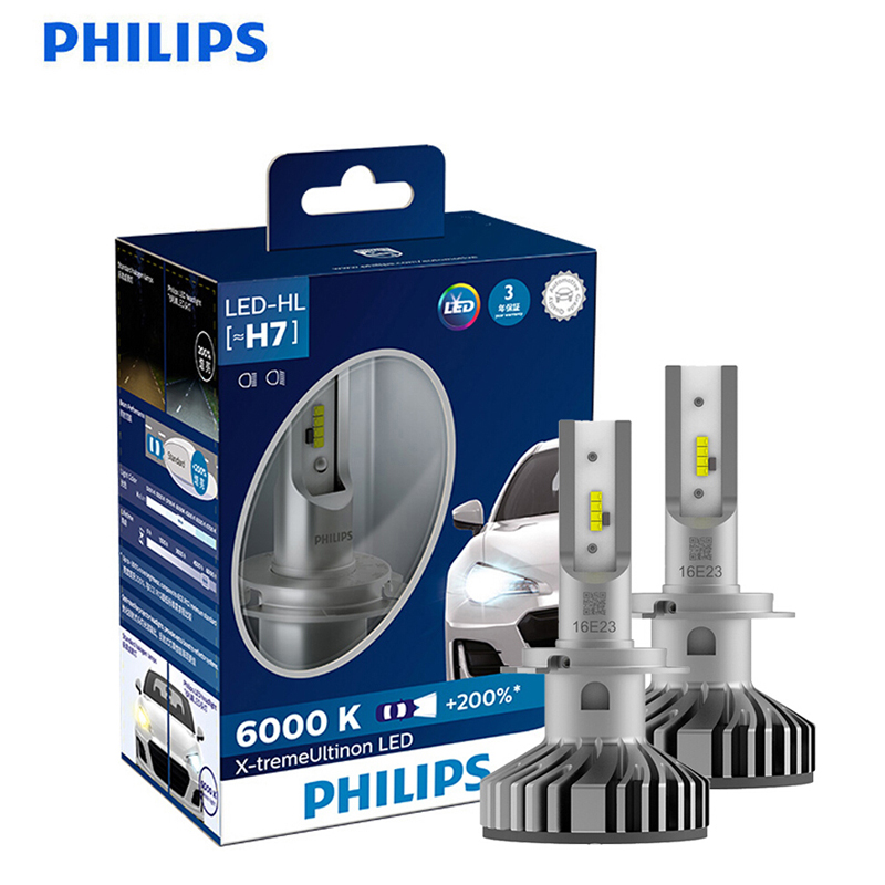 <font><b>Philips</b></font> X-treme Ultinon <font><b>LED</b></font> <font><b>H7</b></font> 12V 6000K +200% more Bright Car <font><b>Headlight</b></font> Auto Original OEM Upgrade Genuine Lamps 12985BWX2,2X image