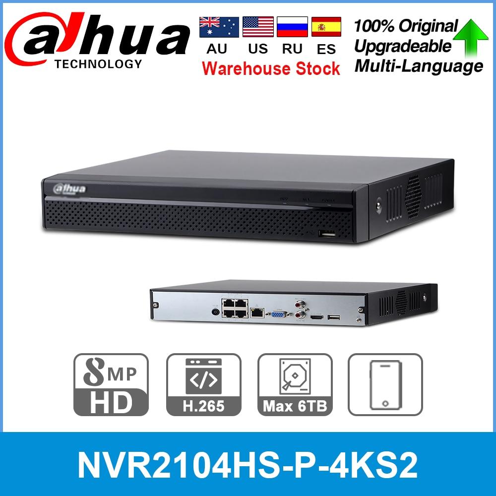 Сетевой видеорегистратор Dahua Английский Оригинальный NVR2104HS-P-4KS2 4 CH 4PoE Lite 4K H.265 Сетевой Видео Регистраторы NVR 8MP записи IP Камера системы видеон...