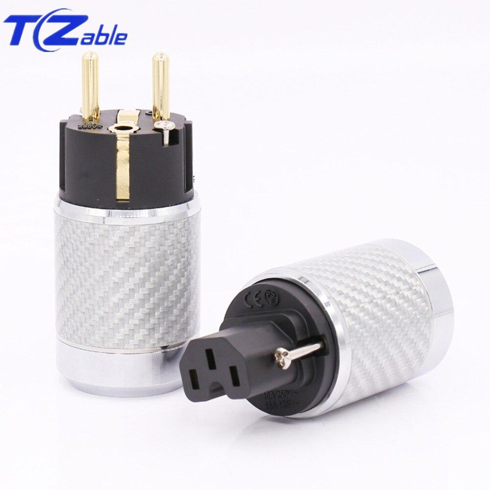 Prise d'alimentation Hifi prise EU fibre de carbone plaqué or connecteur de câble haut-parleur prise électrique Audio adaptateur mâle IEC femelle