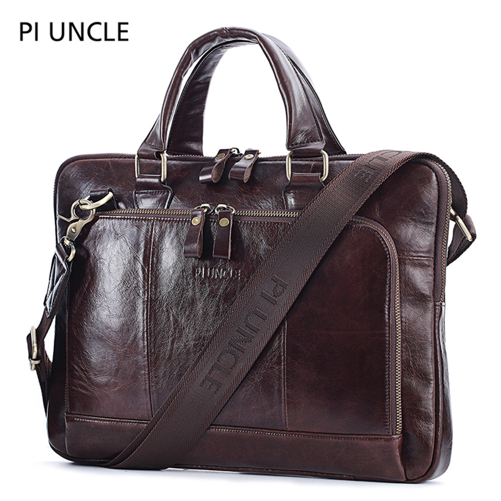 PIUNLE Brand Genuine Leather Business Men's Briefcase Male Shoulder Bag Men's Tote Messenger Bag Computer Handbag Luxury Soft