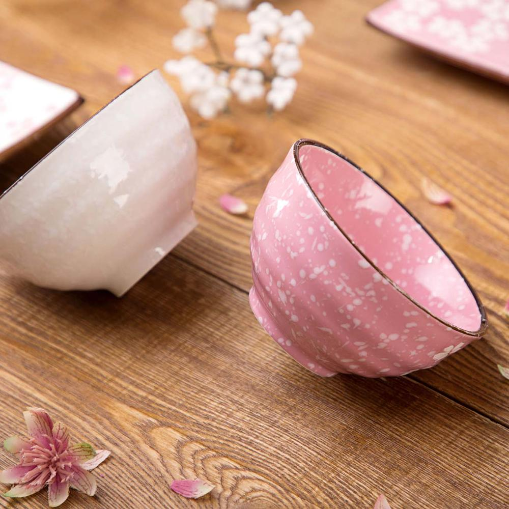 1Pc Sakura Ceramic Bowl  Rice Bowl Kitchen Tableware Fruit Salad Bowls Dinnerware Kids Students Ramen Soup Bowls Japan Style