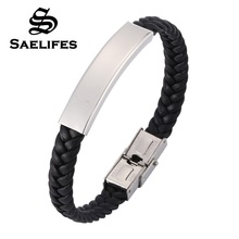 Simple Black Leather Braided Bracelets Bangles Unisex Jewelry Smooth Stainless Steel Men Wristband Bangle Gifts PB0383