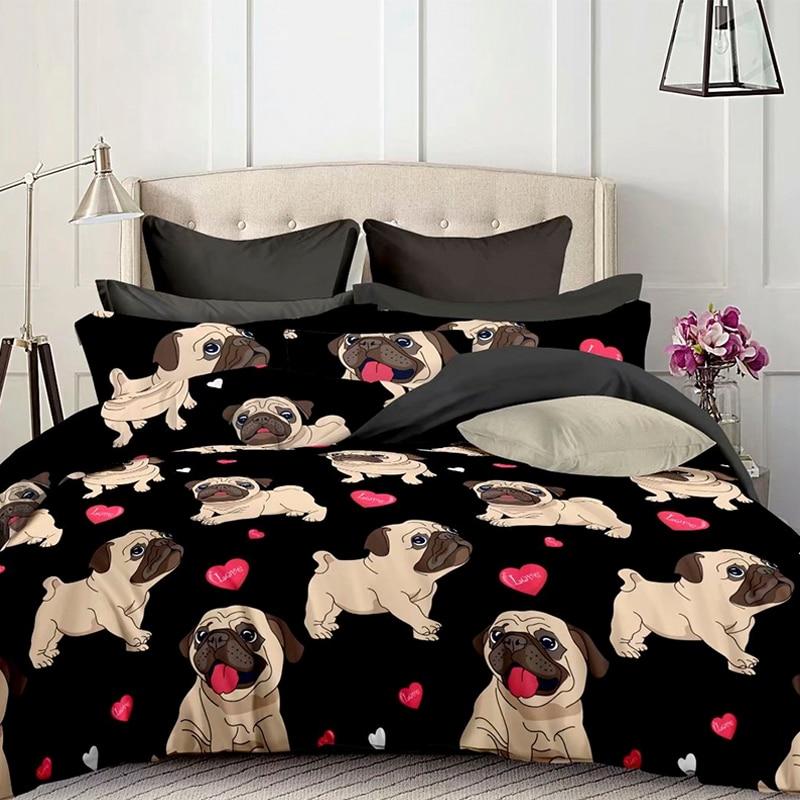 3pcs Lovely Shar Pei Dog Bed Set Fashion Home Bedding Set Duvet Cover Set King Queen Size Quilt Cover Pillow Case Home Textiles
