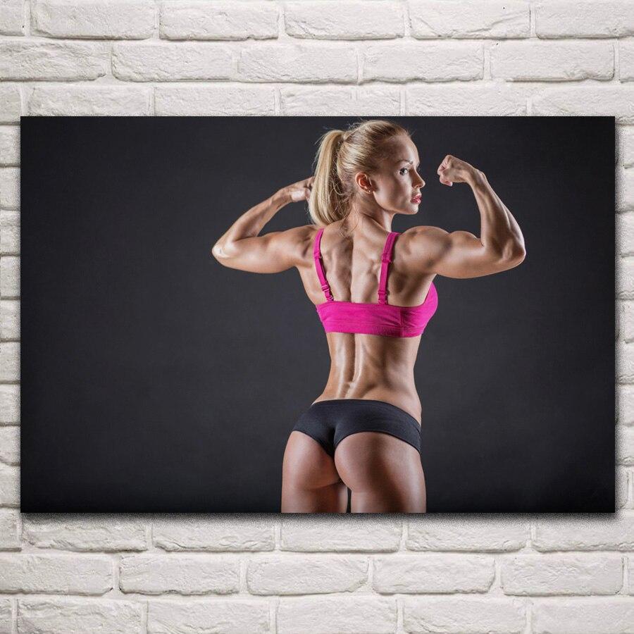 Chaude fille musculation bras pose blonde femelle muscles fitness entraînement SY06 chambre maison mur moderne art décor bois cadre affiche