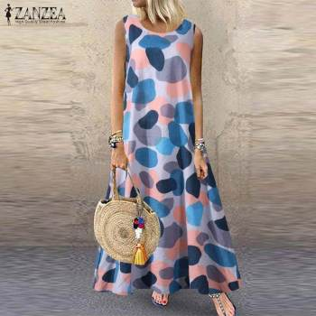Bohemian Printed Sundress ZANZEA Summer Women O Neck Sleeveless Long Dress Casual Beach Party Vestido Plus Size Dresses Sarafans autumn summer new women shirt dress long sleeved female dresses slim fashion party office lady sundress plus size casual rob