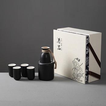 Japanese style wine set Sakura sake wine warming vessel Chinese ceramic warm white wine pot cup gift box wineware