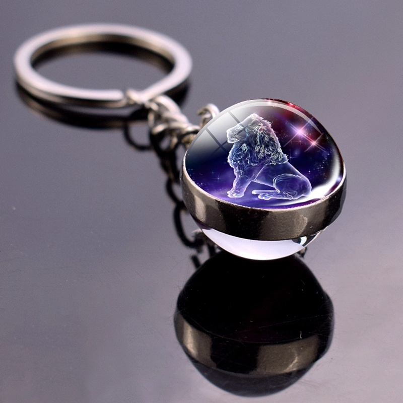 12 Constellation Keychain Zodiac Key Chain Glass Ball Key Rings Jewelry Birthday Gift Scorpio Leo Libra Sagittarius Keyrings