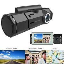 Gorąca sprzedaż kamera samochodowa delikatny projekt J1 HD 1080P kamera na deskę rozdzielczą samochodu podwójny obiektyw GPS Track Night Vision nagrywarka dvd tanie tanio ALLOYSEED CN (pochodzenie) Po załadunku maszyna zintegrowany NONE Klasa 10 105 °-140 ° 960x240 Wewnętrzny G-sensor Z dwoma obiektywami