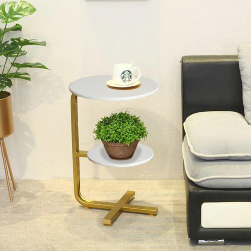 Mesa de sala de estar minimalista creativa Simple lado redondo de madera maciza Tieyijiao sofá dormitorio bandeja de lectura Mesa - 5
