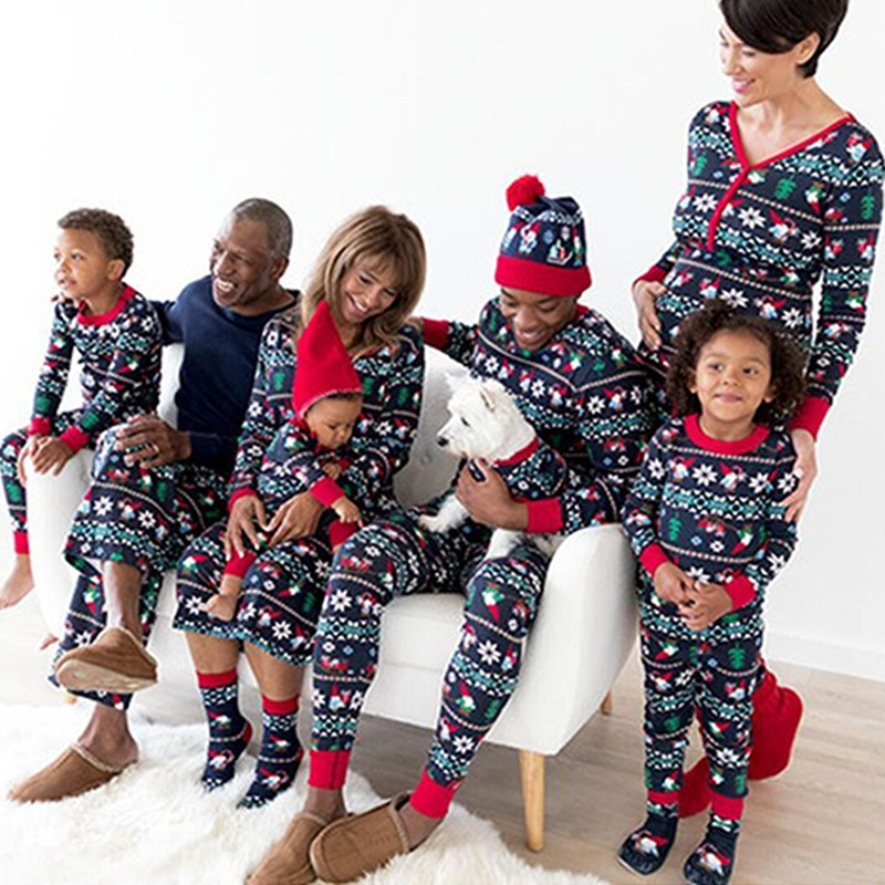 2019 Christmas Family Clothes Set New Party Home Pajamas Suit Long Sleeve T-shirt Pants Dad Mom Boys Girls Costumes Vetement
