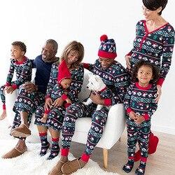 2019 Natal Roupas Da Família Set Novo Partido Pijama Casa Terno de Manga Comprida Calças T-shirt Meninos Meninas Trajes do Paizinho da Mamã Vetement