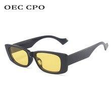 OEC CPO – lunettes de soleil Vintage rectangulaires pour femmes, rétro Punk carré, mode hommes, nuances jaunes, UV400 Oculos O883