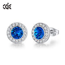 CDE Top Quality Jewelry 12 Color Crystals Round Cut Stud Earrings Women Wedding Bridesmaid Gift Boucle d'oreille