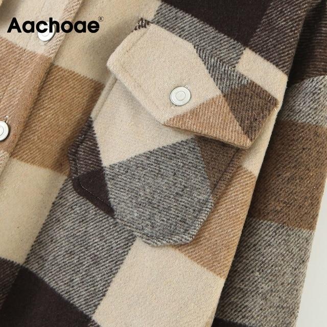 Aachoae – Veste en laine ample et décontractée à carreaux pour femme, col rabattu, moderne, manteau d'automne avec poche, manches longues, de différentes couleurs 6