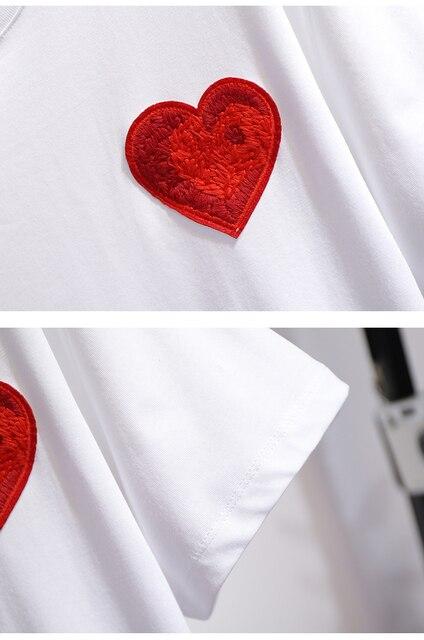 Élégant et confortable été deux pièces ensemble femmes taille haute rétro broderie jupe moulante et amour Appliques t-shirt ensembles
