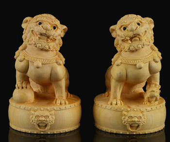 "2.8"" China Exquisite Box-wood Hand Carved Foo Fu Dog Small Lion Drum Statue Pair"