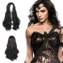 60cm Princess Diana Wonder Woman Cosplay Wig Black Long Curly Synthetic Hair Halloween Costume Party Wigs + Wig cap