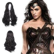 Peluca de Cosplay de la princesa Diana Wonder Woman, pelo negro, rizado largo, sintético, Peluca de fiesta de Halloween + gorro de peluca, 60cm