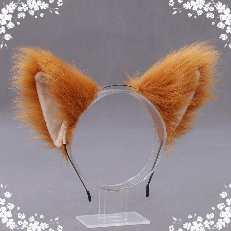 Bonito gato raposa de pele do falso orelha aros de cabelo festa cosplay hairband de pele headbands meninas moda acessórios para o cabelo orelhas animais faixa de cabelo