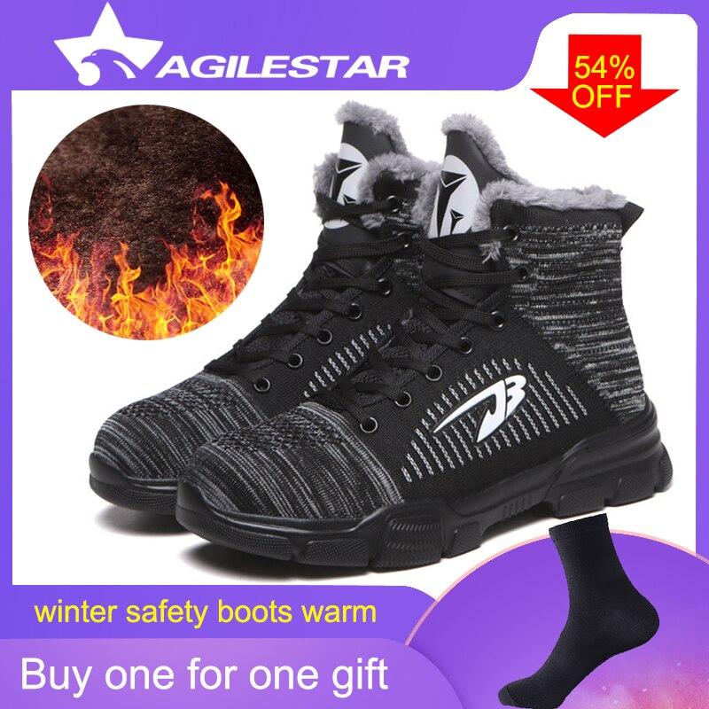 Arbeit Schuhe Sicherheit Stiefel Mann Kappe Atmungsaktiv Rutschfeste Licht Gewicht Modische Anti Zerschlagung Pannensichere Ourdoors High Cut