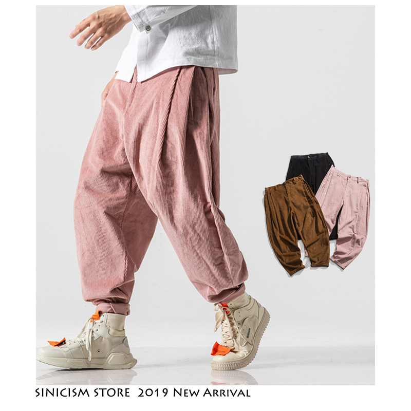 Sinicism Store Men Corduroy Harem Pants 2019 Autumn Chinese Style Pants Mens Solid Black Sweatpants Male Loose Trousers Oversize