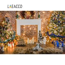 Laeacco Christmas Backdrops Colorful Light Bulb Tree Brick Wall Carpet Toys Bauble Gift Child Interior Backgrounds Photo Studio