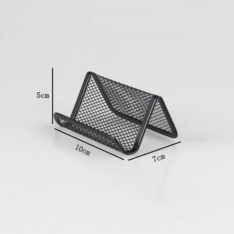 1pc Card Holder Shelf Business Cards Display Stand Office Bar Metal Wire Mesh Korean Style Card Desk Organizer Phone Stand Case