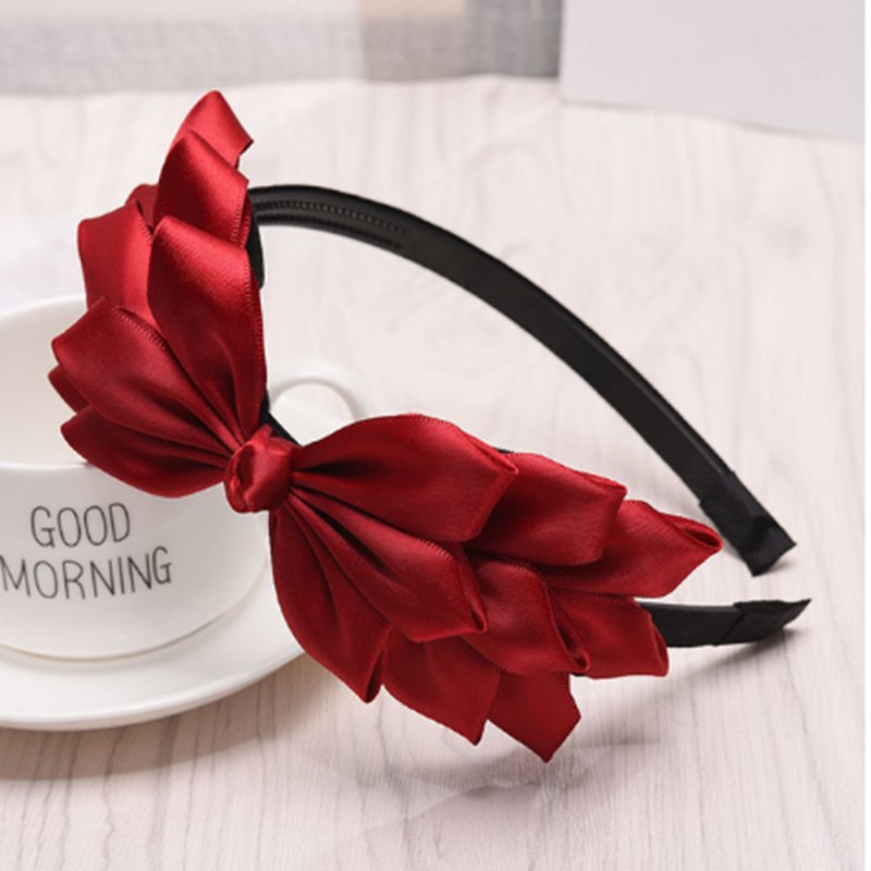 Haimeikang Korean Hair Accessories Women's Solid Color Bow Bezel Headband Handmade Headgear Women Knotting Fashion Head Hoop