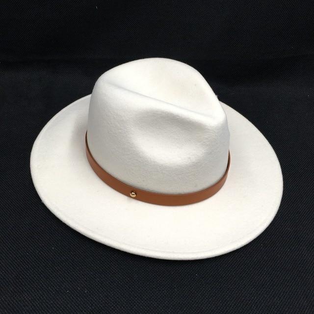 לבן צמר הרגיש כובעי נשים אלגנטי חגורת גזוז רחב ברים פדורה ליידי כנסיית חתונה כובע יהלומי כתר צמר הרגיש לבן מגבעות לבד