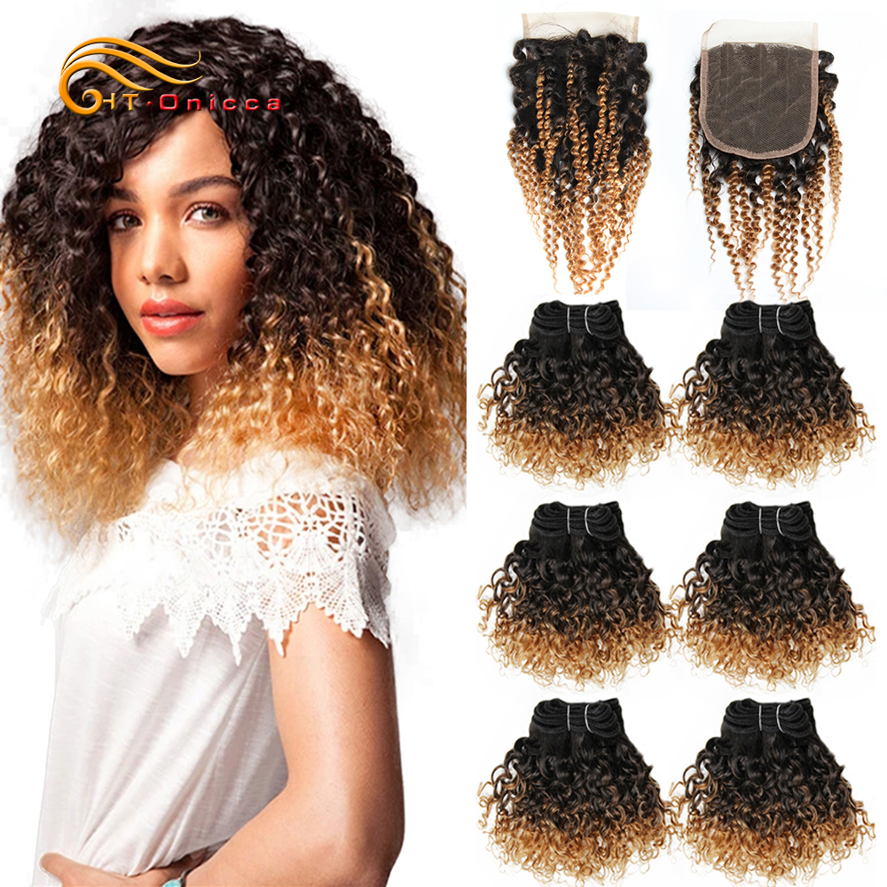 Mongolian Kinky Curly Hair Short Curly Human Hair Bundles With Closure 1B/27/30/99J Ombre Bundles With Closure For Black Women
