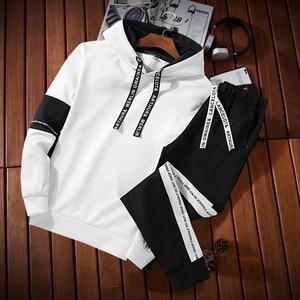 White Black Men Hoodies Set Fashion 2019 Autumn Brand Casual Tracksuit Mens Set Sports Two Piece Patchwork Hoodie Pant Male Suit