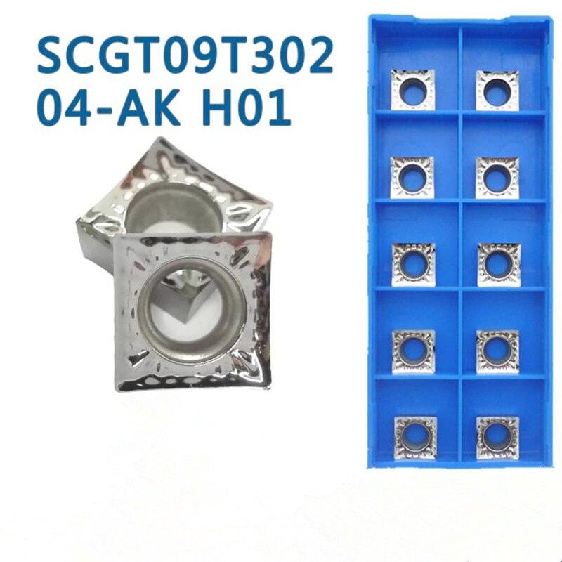 10pcs SCGT09T304 AK H01 Aluminum Turning Inserts Carbide Round Blade SCGT 09T304 Cnc Lathe Cutter Aluminum Copper Tool
