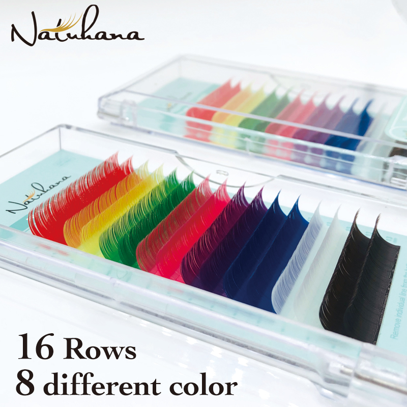 NATUHANA 16rows Red Yellow Green Pink Purple Blue White Brown MixColor Eyelash Extension Premium Individual Mink Colorful Lashes