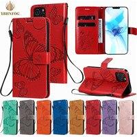 3D Schmetterling Brieftasche Leder Telefon Fall Für Xiaomi Redmi 4A 4X 5 Plus 6A 7 8A 9A 9C 9T k20 K30 Pro Halter Flip Satnd Volle Abdeckung