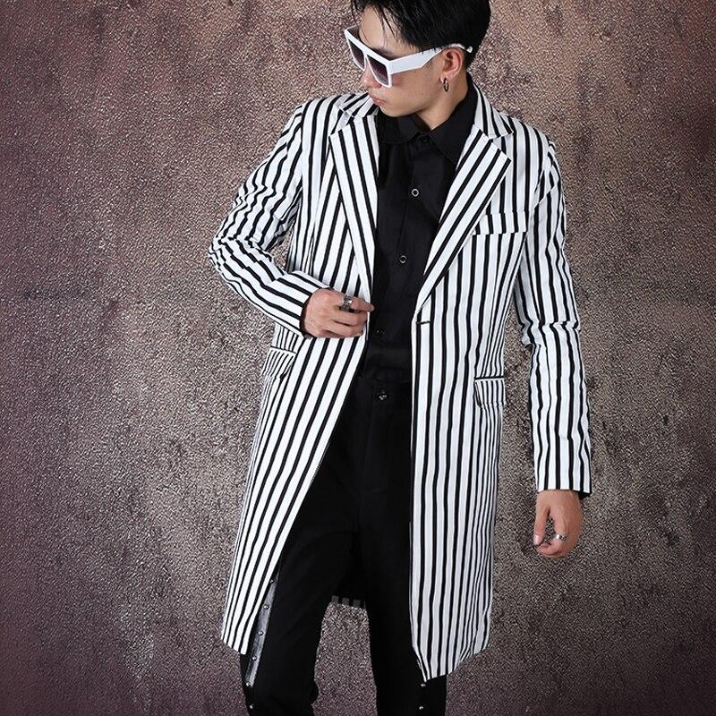 Gli uomini Streetwear Hip Hop Della Banda di Stampa Casual Lungo della Giacca Sportiva Giacca Maschile Moda Vintage Slim Fit Cappotto Del Vestito Dei Vestiti Della Fase-in Blazer da Abbigliamento da uomo su  Gruppo 1