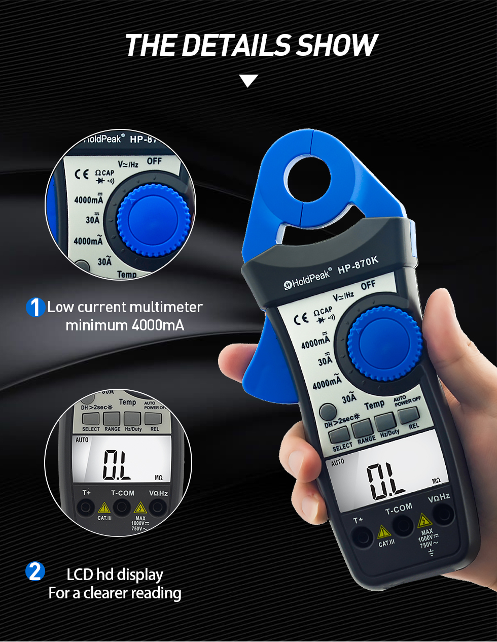 Holdpeak Digital Clamp Meter Hp 870k 4000 Auto Range Dc Ac Multimeter True Rms Frequency Backlight Diode Test Date Hold Function Clamp Meters Aliexpress